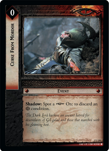 Curse From Mordor (1U241) Card Image