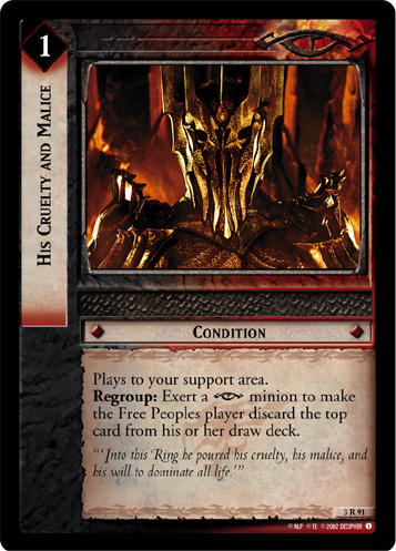 His Cruelty and Malice (3R91) Card Image