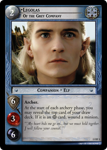Legolas, Of the Grey Company (F) (13RF3) Card Image